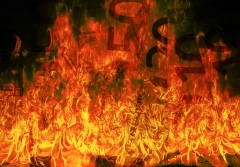 Close up of burning euros
