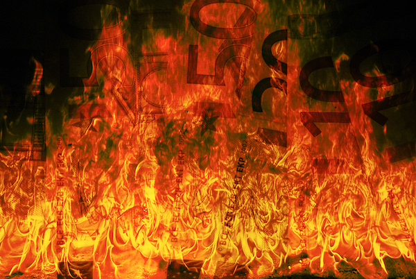 Close up of burning euros