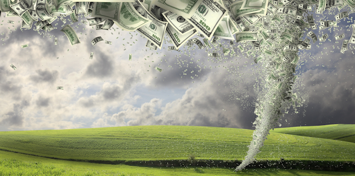 digitally generated image of money twister.