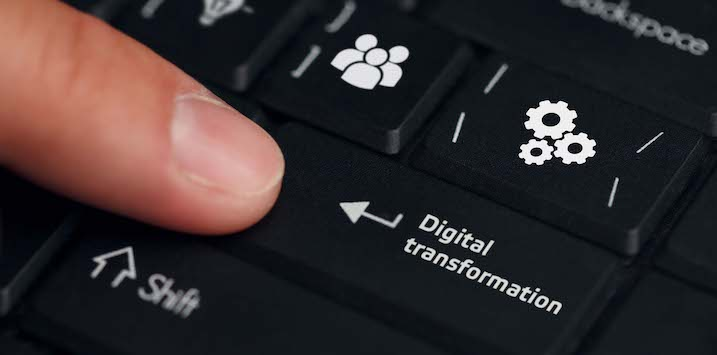 Concept of digitization of business processes and modern technology. Digital transformation