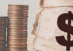 Coins in money bag with coin stack step growing growth saving money, Concept finance business investment